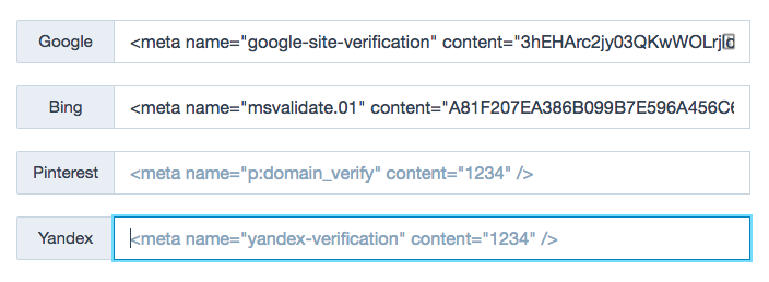 New Site Verification Tools showing the different Webmaster Tools settings.