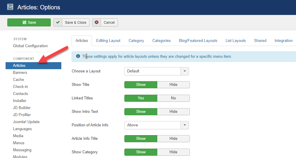 configure your article display settings
