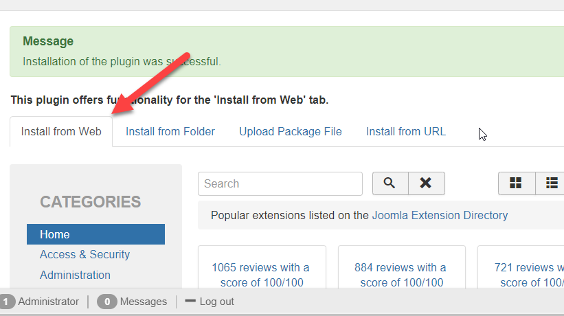 Activate the 'Install from Web' feature