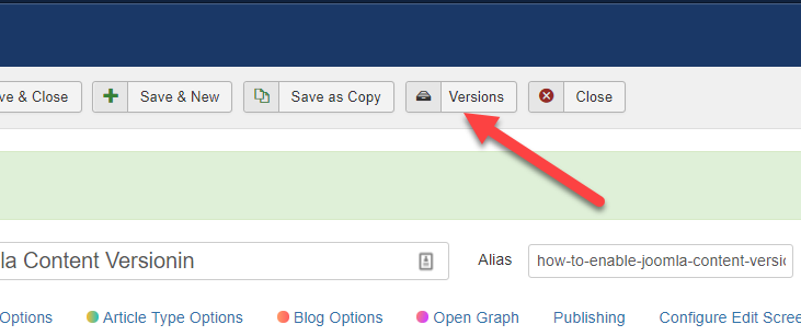 Version button in the Article
