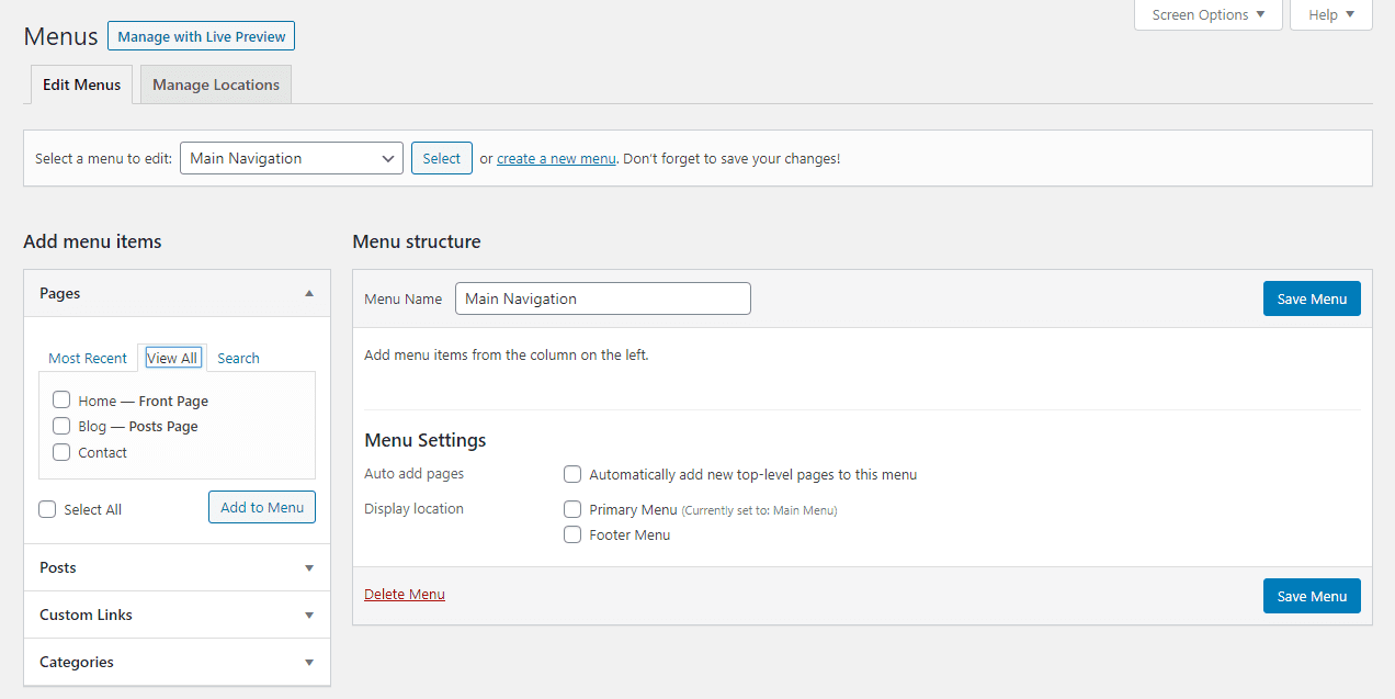 adding pages to a menu