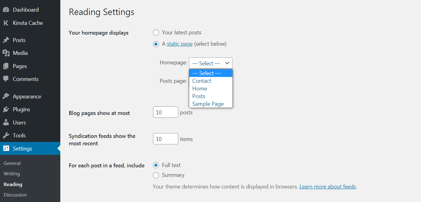 setting static home page