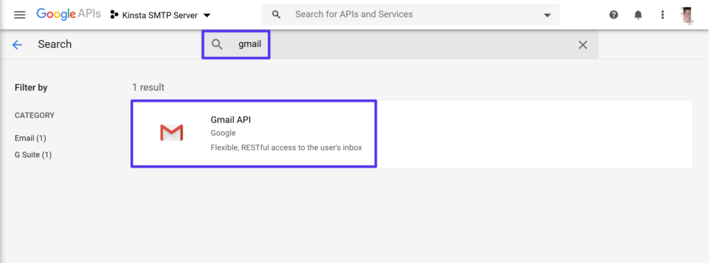 Search for the Gmail API