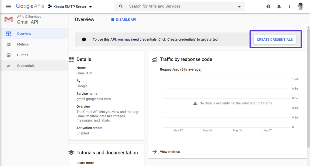 Create credentials for the Gmail API
