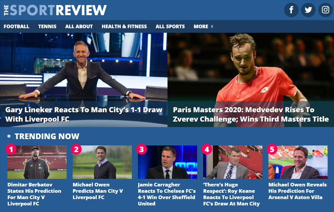 The Sport Review Kinsta Hosted Website