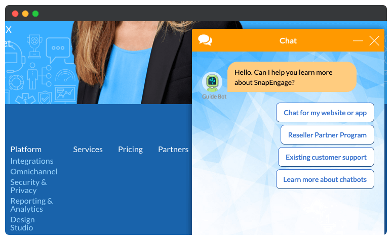 A live chat dialog box on a website.