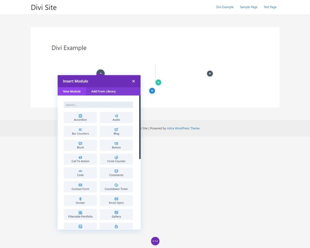 The Divi interface