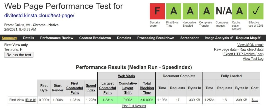 Divi WebPageTest results with no added optimization