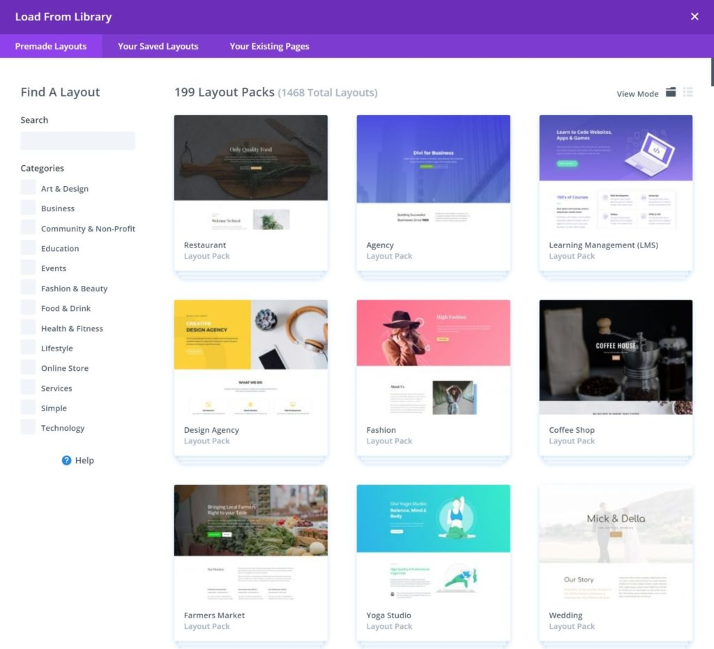 The Divi template library