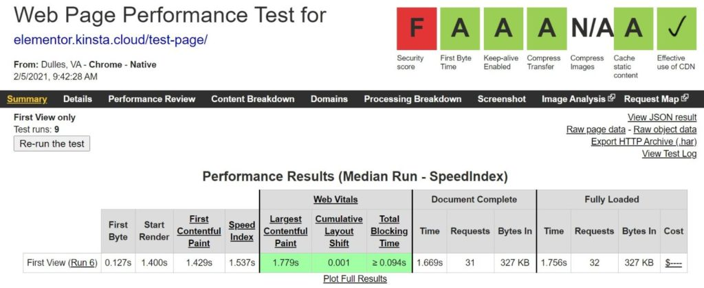 Elementor's WebPageTest results without Autoptimize