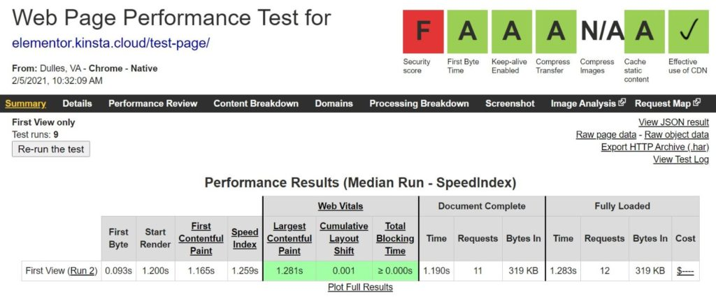 Elementor WebPageTest results with Autoptimize plugin