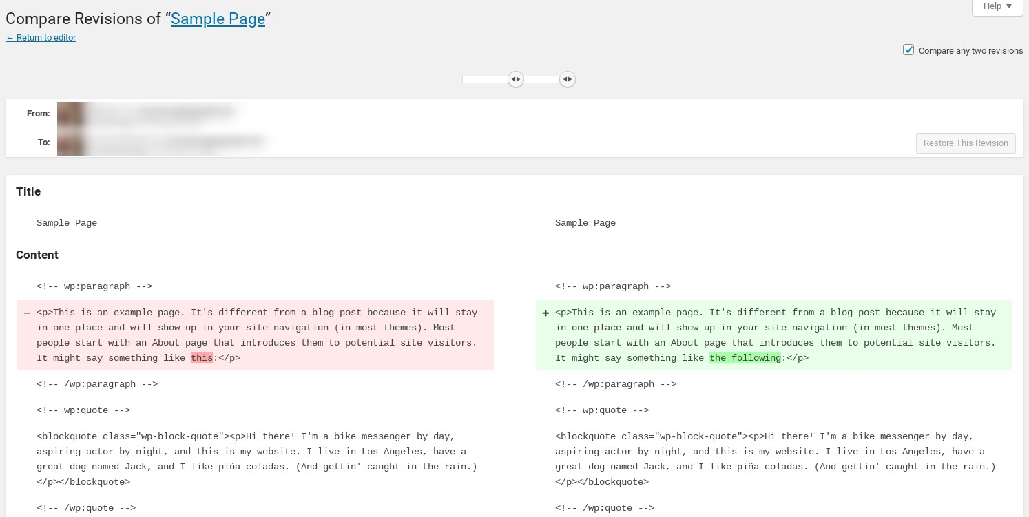 The WordPress Revisions page.