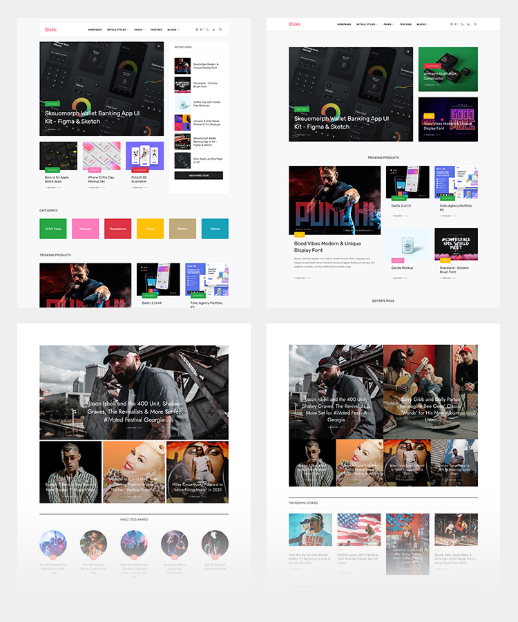 Joomla entertainment template home page layouts