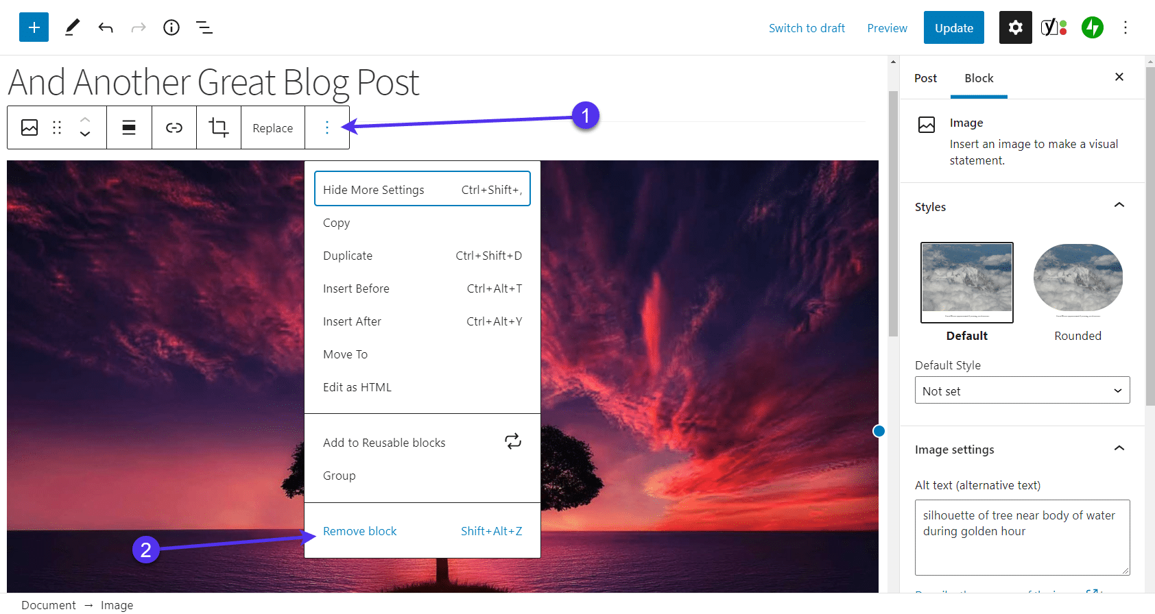 Show more settings by clicking the three-dot icon