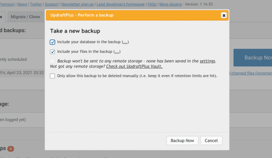 Selecting which elements to include in your WordPress backup.