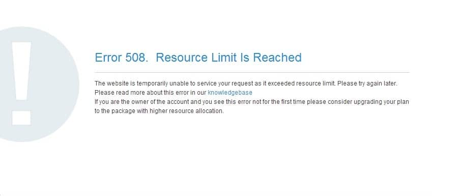 """The """"Error 508 Resource Limit Is Reached"""" browser message. (Image source: Namecheap)"""