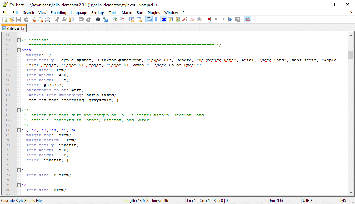 the style sheet example
