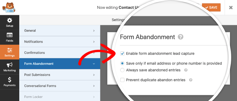 Form abandonment enable in wpforms