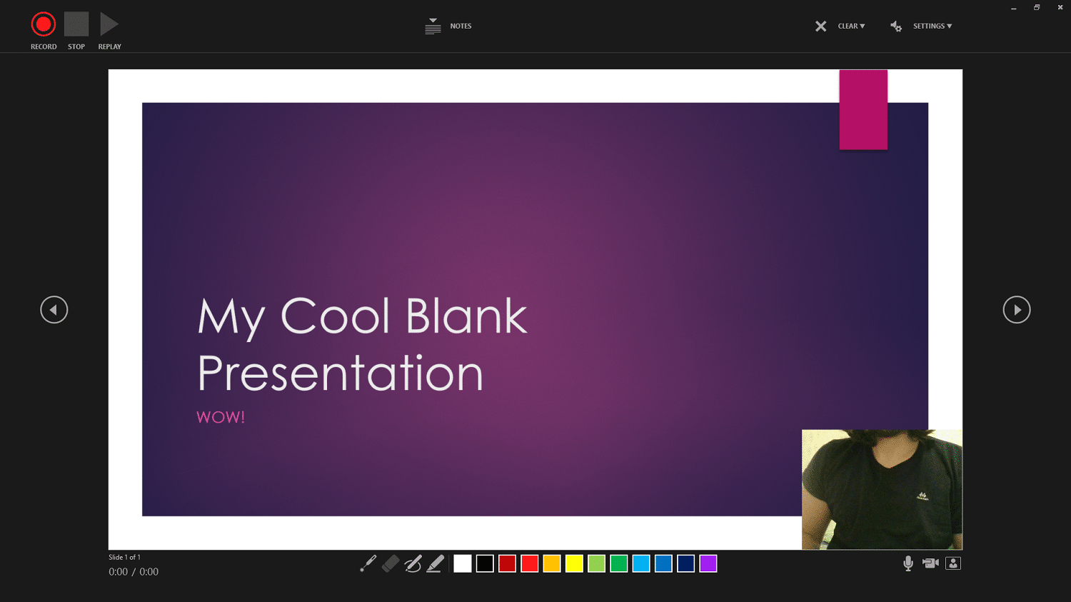 Recording a PowerPoint presentation.