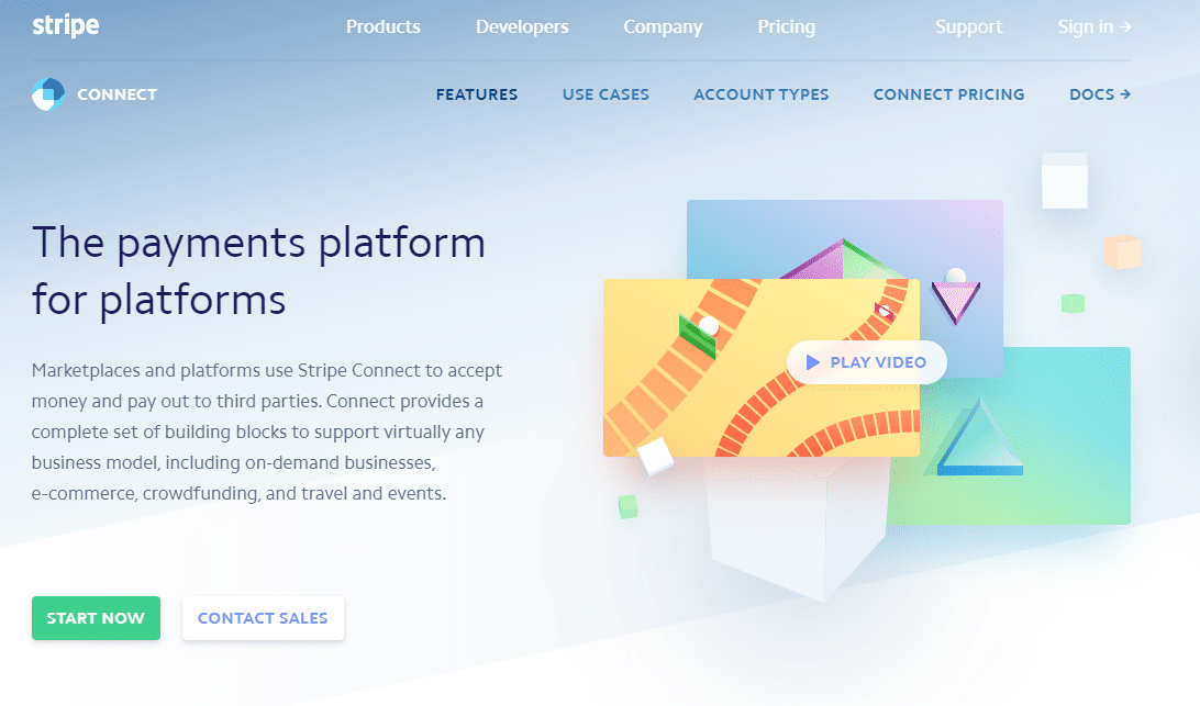 Stripe Connect product page, screenshot.