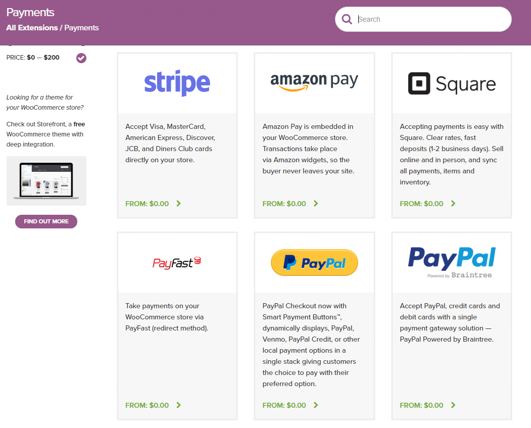 WooCommerce extensions for payments.