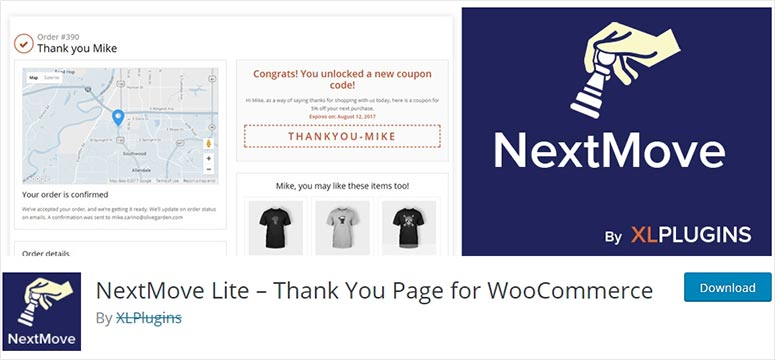 Thank you page for WooCommerce