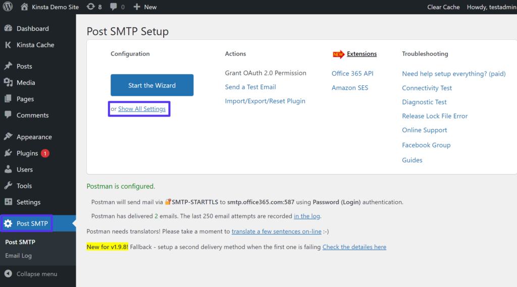 How to access the full Post SMTP settings