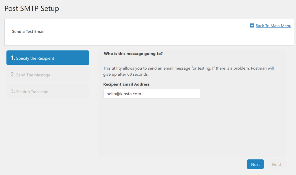 Enter your own email in the Recipient Email Address box