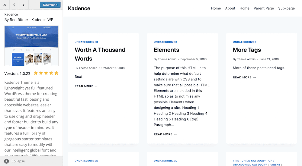 The default WordPress preview screen for themes.