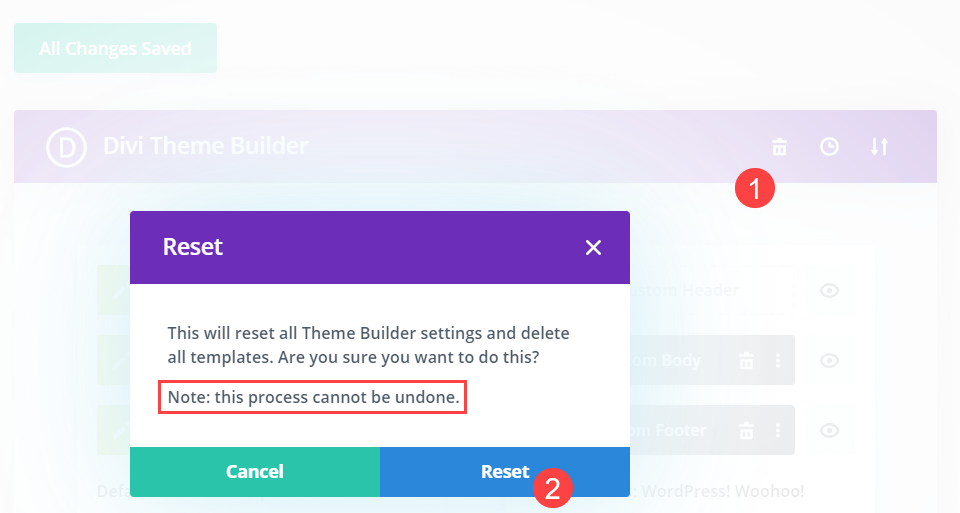 reset the templates using the trash can icon