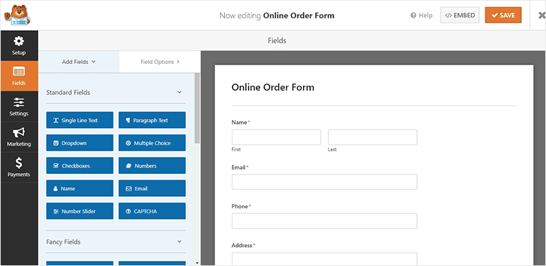 Order form preview