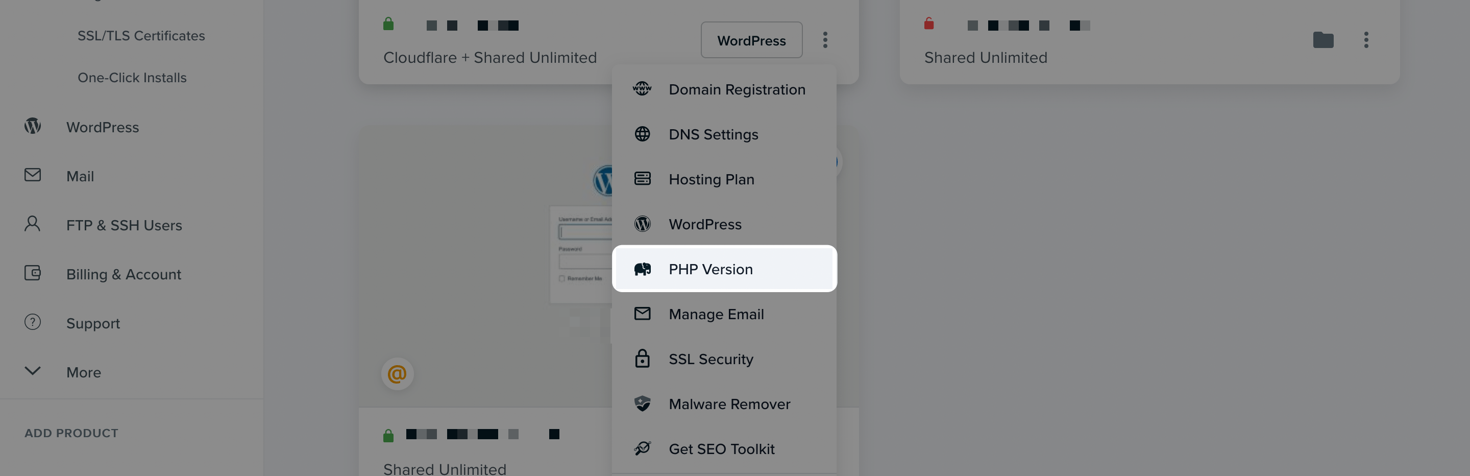 The PHP Version option within DreamHost.