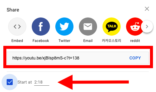 How to embed YouTube video starting at specific time