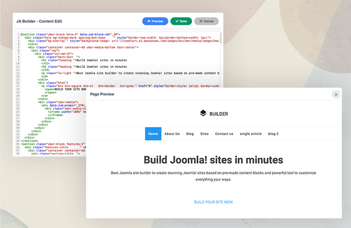 Update page content with html